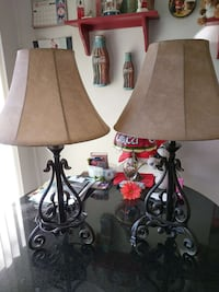 """Black metal floral table lamps""  Loudon, 03307"