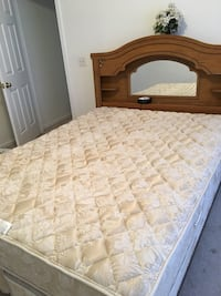 Quilted white floral mattress and brown wooden headboard with mirror Copley, 44321