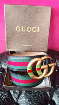 Green and Red Gucci leather belt with box Marlow Heights, 20748