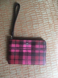 pink, black, and red tattersall Coach leather wristlet Montague, 07827