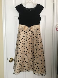 Girls gold black polka dot dress size 16 Toronto, M1B 1G5