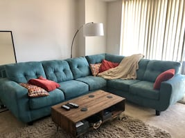 Teal blue microfiber sectional
