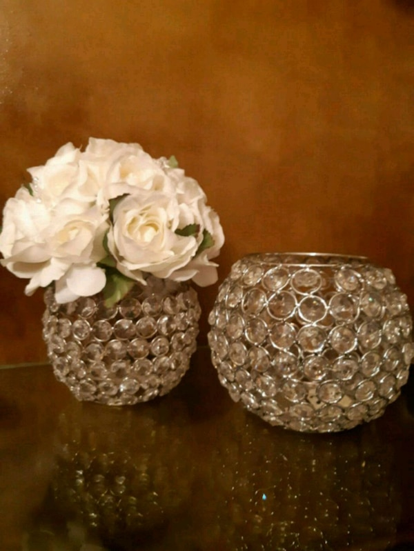 crystal beaded candle holders or flower vase