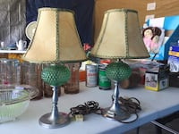 Two antique green hobnail depression glass lamps.