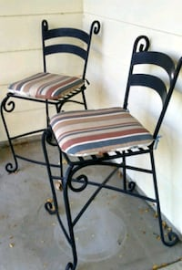 Set of 2 cast iron bar height chairs