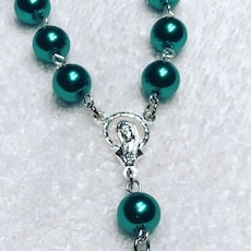 Emerald mini rosaries for a baptism, many colours available