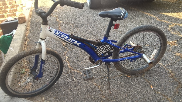 blue and white kids bicycle