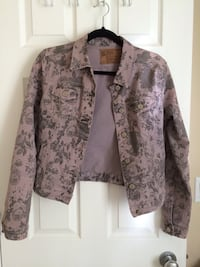 Grey floral denim jacket - medium