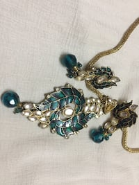 Blue and silver beaded necklace Jaipur, 302021