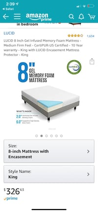 LUCID 8 Inch Memory Foam Mattress KING Huntington Beach, 92649
