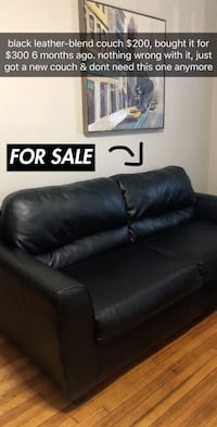 black leather-blend couch sofa New Rochelle, 10804