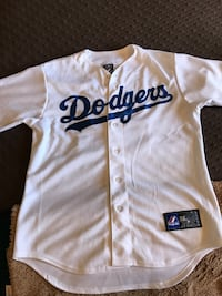 white and blue Dodgers jersey shirt