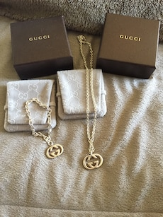 Never worn Authentic silver Necklace and bracelet with Gucci pendants with boxes