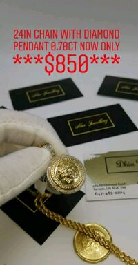 "10k gold 24"" rope chain with diamond Versace  Toronto, M2J 4E3"