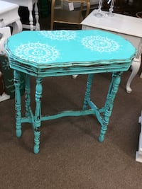 teal and white wooden side table Cottageville, 29435