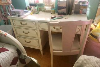 solid wood white desk and chair