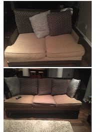 Brown fabric 3 & 2 seats sofa collage .... BARGAIN ****BOTH FOR*** 553 km