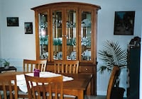 brown wooden framed glass display cabinet Columbia