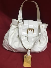 "Dooney & Bourke White Purse Handbag Tote Magnetic Snap Pink Lining17""x 11""x 6"" Las Vegas, 89131"