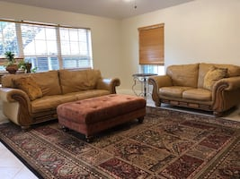 Leather Sofa and Loveseat with Ottoman