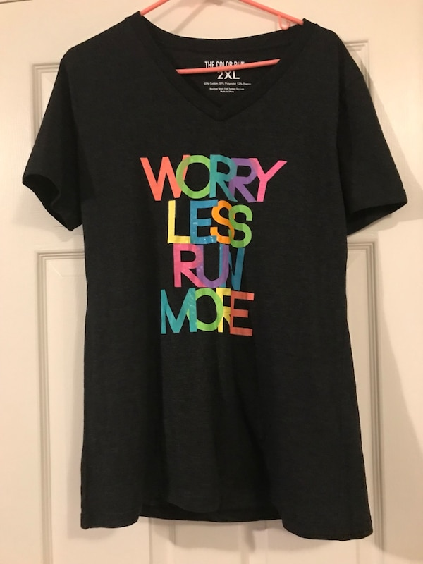 95c0dfb682d Used black and multicolored worry less run more-printed V-neck t-shirt for  sale in Hartland - letgo
