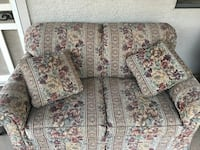 Brown and red floral fabric sofa and love seat Mesa, 85210