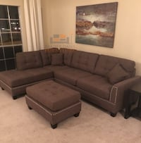Brand new coffee linen sectional sofa with ottoman  Silver Spring, 20902