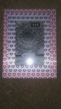 pink and purple heart print photo frame