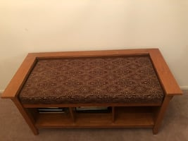 Wooden entry bench with cushion