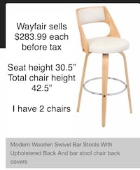 Lowered price  solid wooden white swivel bar chair/ stool  Vancouver, V5K 2C4