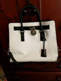 white and black leather tote bag Surrey, V3W 4C6
