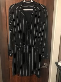 black and white pinstriped long-sleeved dress North Vancouver, V7R 3M6