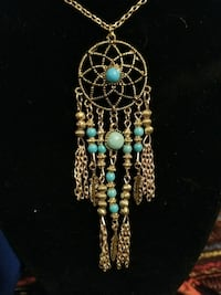 Gold chain dream catcher feather necklace