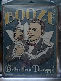 """Booze"" Metal Tin Sign"