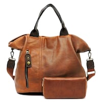 brown leather 2-way bag with wallet