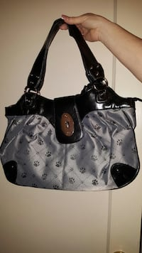 Grey and black dog paw print handbag.. Brand new, never used! Stockton, 95204