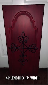 Burgundy, Beveled Wall Decor with Black, Metal Accent