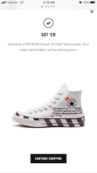 Authentic Off White converse SIZE 8 IN MENS No shipping , Meet up only South Jordan, 84095