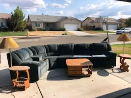Sectional couch with recliners and cup holders. 2