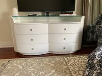 white wooden TV stand with flat screen television Toronto, M8Z 3A3