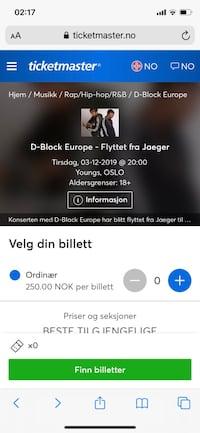D block europe billeter 3stk Oslo, 0376