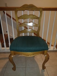 Beautiful vintage ladderback chair with emerald green seat(1)
