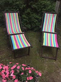 Vintage outdoor wood chaises. NEW FABRIC   Washington, 20016