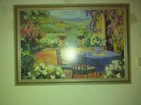 round blue dining table surrounding flowers painting with wooden frame Riverbank, 95367