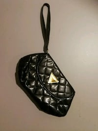 quilted black Guess leather wristlet