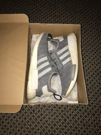 pair of gray adidas low-top sneakers with box 1192 mi