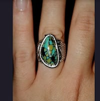 Sterling Silver Overlay and Green Turquoise Ring Sz 7 or Sz 8 Greenville, 29617