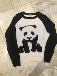 black and white panda bear graphic knit sweater Vaughan, L4H 1H9