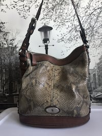 Fossil Snakeskin Embossed Leather Bucket Bag Burnaby, V5C 2J9