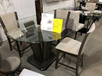rectangular glass top table with six chairs dining set Houston, 77041